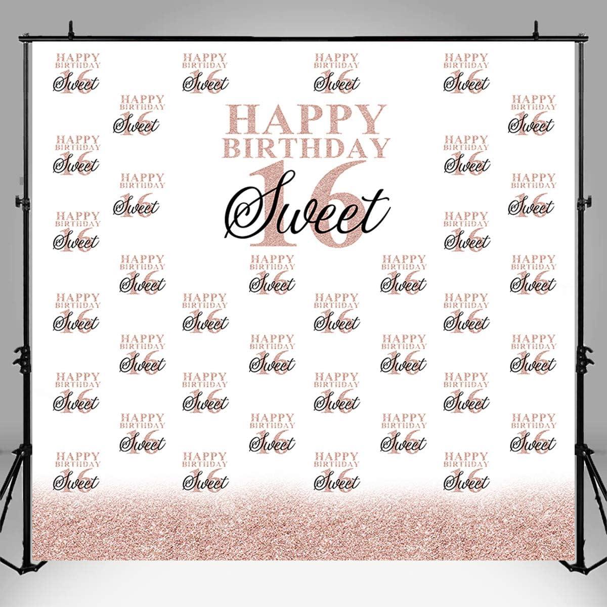 Sensfun Sweet Weekly update Sixteen 16 Backdrop 2021 model Birthday Re Rose Gold Step and