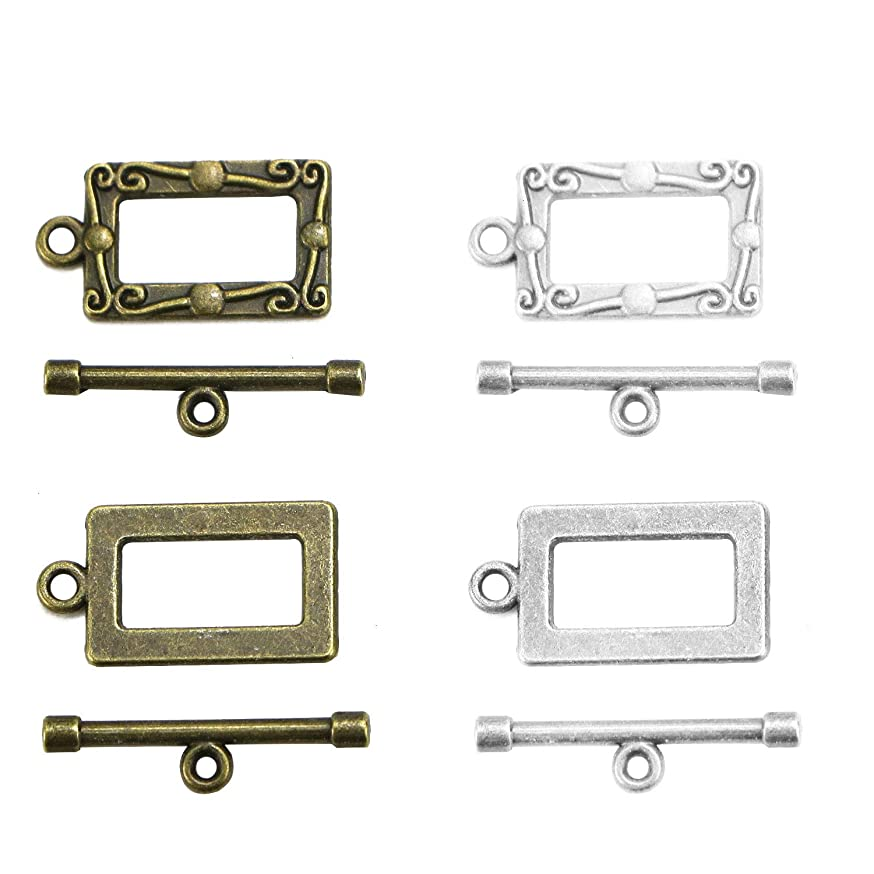 Monrocco 30Sets/60pcs 2 Color Antique Bronze Bracelet Toggle Clasps for DIY Crafts, Jewelry Making