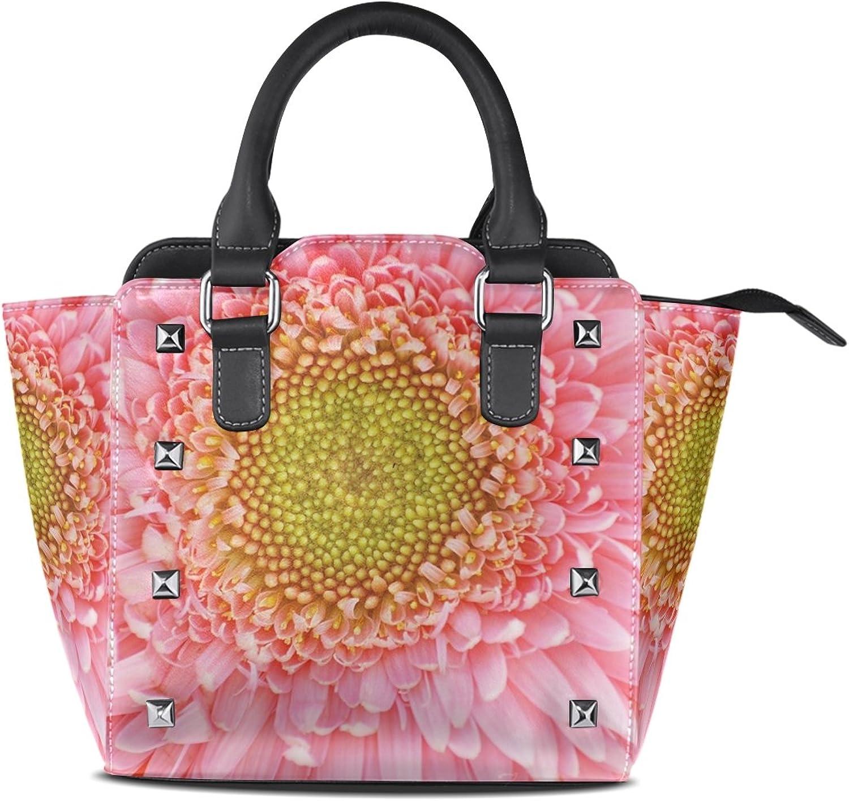 Sunlome Flower Petals Print Women's Leather Tote Shoulder Bags Handbags