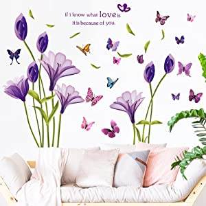 3D Purple Lily Flowers Wall Decals Removable Lily Flowers Sticker DIY Butterfly Flower Vines Art Decor Peel and Stick Wall Decals for TV Background Girls Rooms Living Room