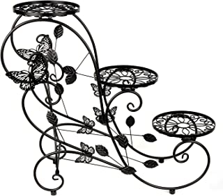 3-Tiered Metal Plant Stand Flower Pot Rack Garden Patio Standing Plant Display Stand, Black