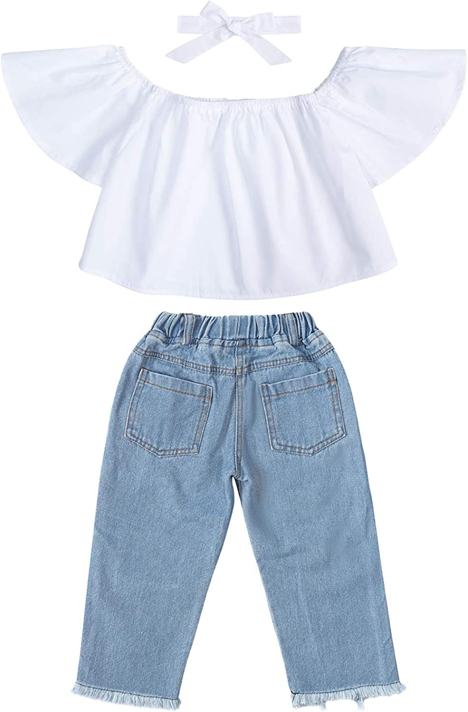 Jurebecia Toddler Girls Clothes Sunflower Ruffle Top Ripped Jeans Bowknot Headband 3Pcs Set Kids Girls Summer Outfits