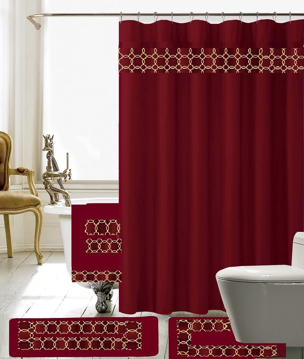 BH Free shipping Home Linen 18 Piece Embroidery Bat Set 1 Large Shower Mat Selling rankings