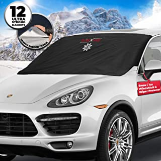 BRITENWAY Windshield Cover for Ice and Snow - Wiper Protector - Non Scratch Magnetic - Sturdy - Heavy Duty Material - Self Storage Pouch - Keep Your Vehicle Exterior Ice Free and Clean
