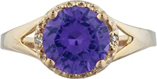 2 Ct Created Alexandrite & Diamond Halo Design Round Ring 14Kt Yellow Gold Rose Gold Silver