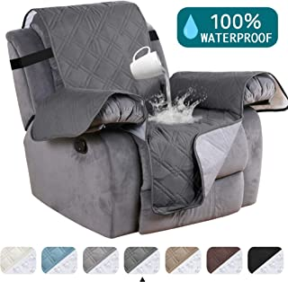Turquoize 100% Waterproof Pet Furniture Covers for Recliners Chair Covers Dog Sofa Cover Protector Anti Slip Furniture Protector Protect from Dogs/Cats, Spills, Wear and Tear (Recliner,22) Grey