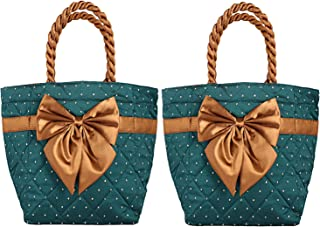 Heart Home Satin 2 Pieces Women Hand Bag (Green) - CTHH10329