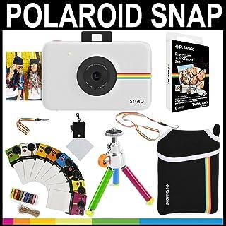 Polaroid - Cámara instantánea Snap (Blanco) + Papel Zink 2x3 (paqute de 20) + Funda de Neopreno + Marcos para Fotos + Set de Accesorios