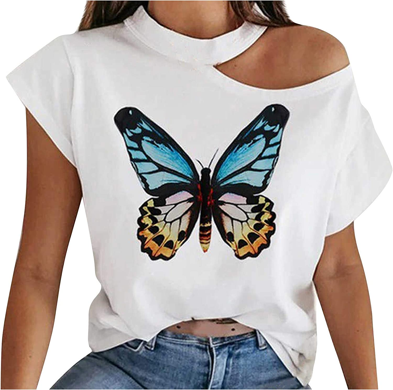 Uppada Women's Plus Size Sexy Graphic Tees Off Shoulder Butterfly Tops Cute Short Sleeve Tshirts Casual Loose