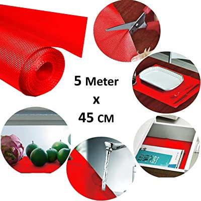 Kuber Industries Multipurpose Textured Super Strong Anti-Slip Mat Liner,Size 45X500 cm (5 Meter Roll, Red) - CTKTC40255