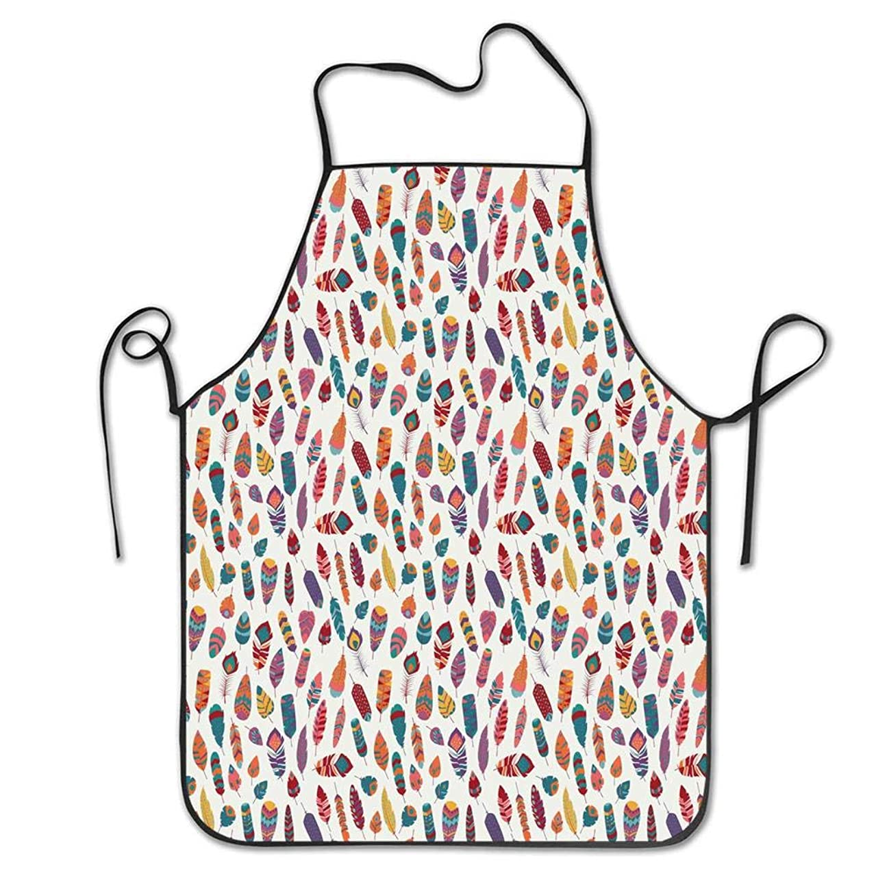 Mrsangelalouise Boho Vintage Tribal and Ethnic Colorful Vibrant Plume Figures Jumbled Alignment Apron Home Bib Apron for Women Men Girl Kids Gifts Kitchen Decoration Cooking