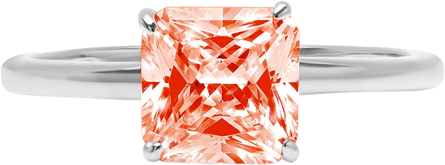 1.9ct Brilliant Asscher Cut Solitaire Stunning Genuine Red Simulated Diamond Cubic Zirconia Ideal VVS1 D 4-Prong Engagement Wedding Bridal Promise Anniversary Ring Solid 14k White Gold for Women