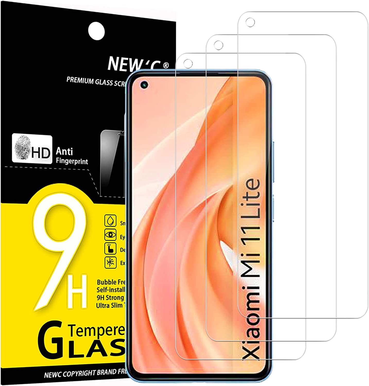 NEW'C 3 Unidades, Protector de Pantalla para Xiaomi Mi 11 Lite/Mi 11 Lite 5G, Antiarañazos, Antihuellas, Sin Burbujas, Dureza 9H, 0.33 mm Ultra Transparente, Vidrio Templado Ultra Resistente