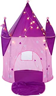 """Alvantor Kids Tents Princess Crystal Castle with LED Lights Play-House Indoor and Outdoor Pink Pop Great Game and Toy Gift for Children Fun (Patent Pending), 35""""x35""""x51"""""""