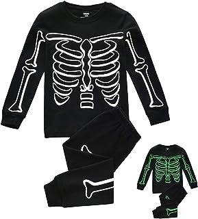 Disfraz Halloween Pijama Niño Invierno con Estampado de Huesos Luminoso, Traje de Manga Larga Top + Pantalones Disfraces Halloween Niñas 1-7 años