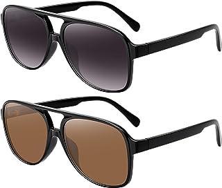 WOWSUN - Gafas de sol de aviador vintage para mujeres y hombres de los años 70 clásicos retro grandes