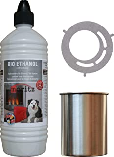 Moritz - Set de iniciación de 1 x 1000 ml de bioetanol + 4 x latas de acero inoxidable de 500 ml + hucha para quemador de chimenea, estufa, combustión de seguridad
