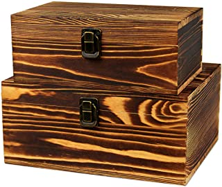 2 Pack Real Wood Box Treasure Chest Memory Hobby Preservation Rustic Decorative Archival Organizer with Latch Lock for Jew...