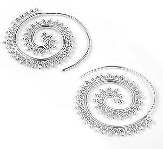 Espiral Grande Plateado Plata Pendientes