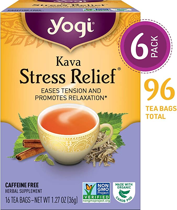 Yogi Tea Kava Stress Relief Eases Tension And Promotes Relaxation 6 Pack 96 Tea Bags Total