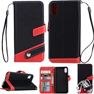 iPhone XR レザー 手帳型 ケース マルチ カラー Diary case カード収納 液晶保護フィルム 付 スタンド機能付き イヤホンコードクリップ iPhone XR 本革風カバー マグネット式 アイフォンXR ケース 6.1インチ対応 (ブラック)