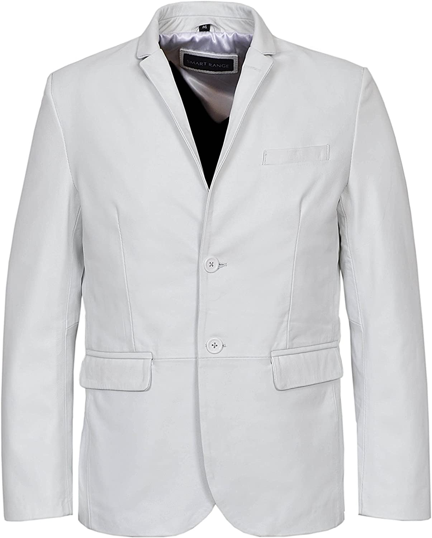New Millano 2 Button Classic Blazer Men White Nappa Lamskin Leather Jacket 3450