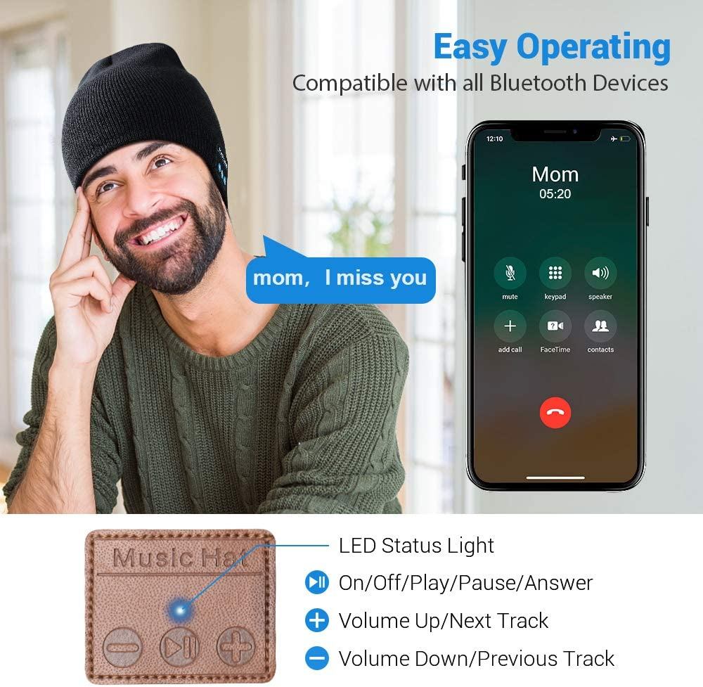 Unique Tech Gifts for Men Women Husband Teen Dad Gifts V5.0 Bluetooth Winter Hat with Headphones Bluetooth Beanie Mens Gifts Christmas Stocking Stuffers for Men Bluetooth Hat
