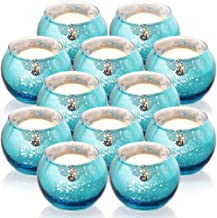 SHMILMH Round Blue Votive Candle Holders, Set of 12 Mercury Glass Tealight Candle Holders Bulk with Speckled for Table Cen...