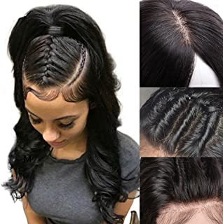 Silk Base Full Lace Wig Human Hair With Baby Hair Pre Plucked Silk Top Lace Wig Natural Hairline Glueless Virgin Human Hair Wig Body Wave for Black Women 1B Natural Black 10''/10inch