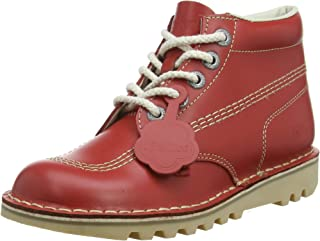 Womens Red Leather Kick Hi Boots