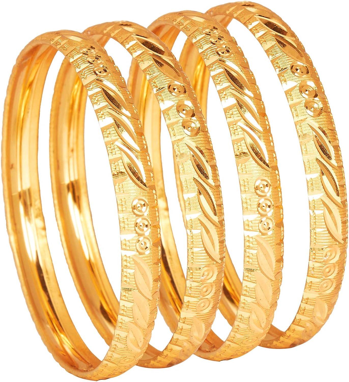 Bodha Traditional Indian 24K Fine Gold Plated Designer Bangles for Women (Pack of 4) SJ_3313
