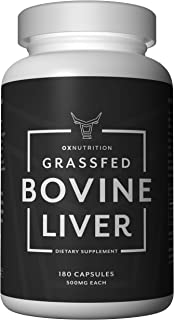 OXNUTRITION Grassfed Beef Liver Capsules (Desiccated) | Natural Liver and Iron Supplement | High in B12 for Energy, Thyroid Support | 180 Capsules | Superfood Packed with Many Vitamins and Nutrients