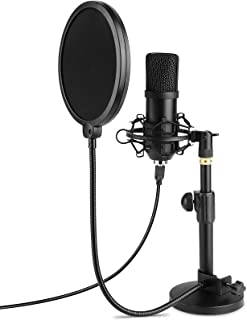 MVPower USB Microphone, PC Laptop Condenser Microphone Recording Microphone with Table Stand, Professional 192KHZ / 24 Bit Cardioid Radio Microphone Sets with Pop Filter, Plug & Play