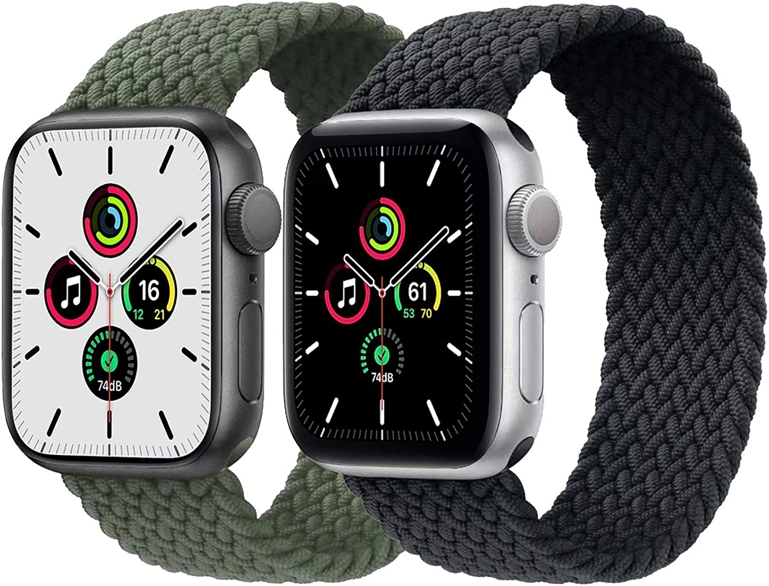 2-Pack Solo Loop Strap Compatible with Apple Watch Band 38mm 40mm,No Clasps No Buckles Stretchable Braided Sport Elastics Replacement Wristband for iWatch Series 6/5/4/3/2/1,SE,Green&Charcoal,9#