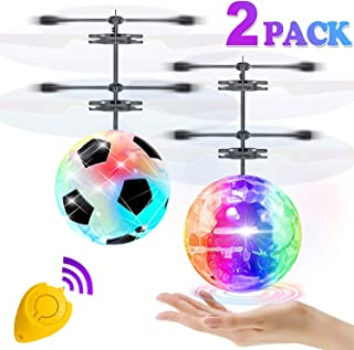 2 Pack Flying Ball Toys, RC Flying Toys for Kids Boys Girls Holiday Easter Birthday Gifts Remote Control Drone Helicopter Rechargeable Light Up Ball Infrared Induction RC Drone Toy