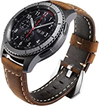 Gear S3 Bands Leather, Maxjoy S3 Frontier Classic Watch Band, Galaxy Watch 46mm Bands 22mm Leather Strap Replacement Wristband with Stainless Steel Buckle Clasp for Samsung Gear S3 Smart Watch, Brown