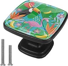 Kasten Hardware Handgrepen Vogel en Flamingo Meubelknoppen Witte Lade Handgrepen Vierkant Trekt Decor Kwekerij Kamer Kinde...