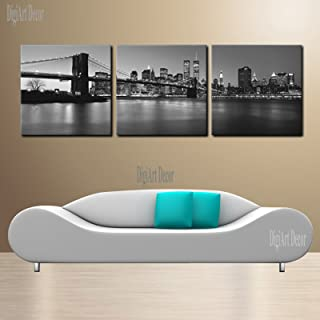 Manhattan Night/Brooklyn Bridge/NYC Skyline with Twin Towers Ready to Hang 3 Panel Set Digital Wall Art Print Mounted on Fiberboard/Better Than Stretched Canvas Print/Size: 20x20x1¡±X3Panels