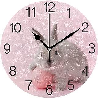 Chovy 掛け時計 置き時計 北欧 おしゃれ かわいい サイレント 連続秒針 壁掛け時計 インテリア うさぎ 兎 兎柄 ピンク 可愛い 部屋装飾 子供部屋 プレゼント