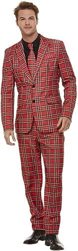 Smiffys 50790XL Combinaison tartan pour homme Rouge Taille XL 117 à 122 cm