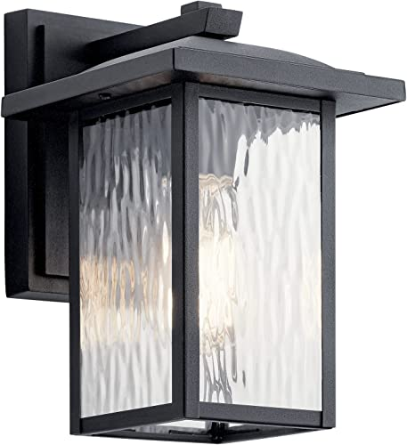 """new arrival Capanna 10.25"""" 2021 outlet sale 1 Light Outdoor Wall Light with Clear Water Glass in Textured Black online"""