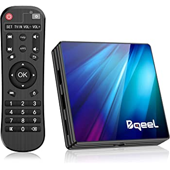 Bqeel Android 9.0 【4G+64G】 TV Box Bluetooth 4.0 R1 Plus RK3318 Quad-Core 64bit Cortex-A53 USB 3.0 Box Android TV LAN100M Wi-FI 2.4G/5G Box TV 4K Android TV
