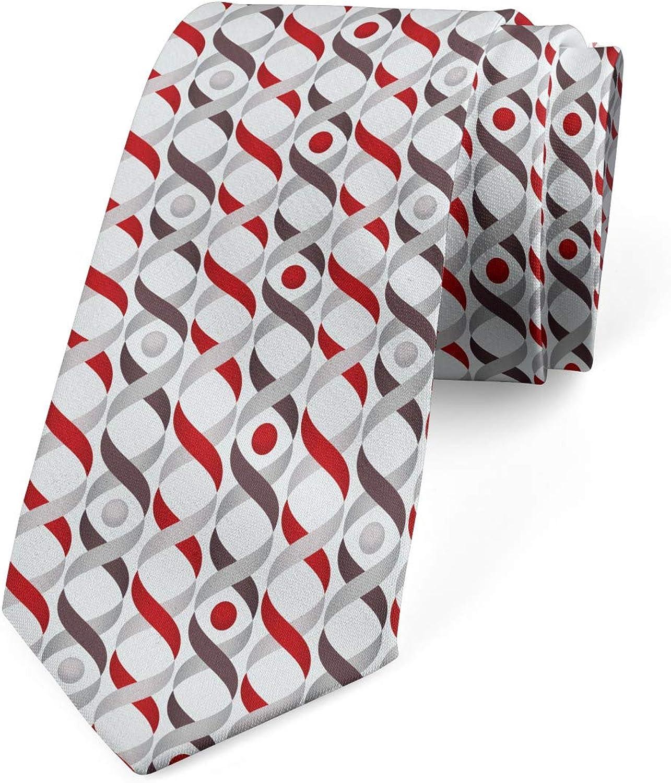 Ambesonne Necktie, Tangled Ogee Lines, Dress Tie, 3.7