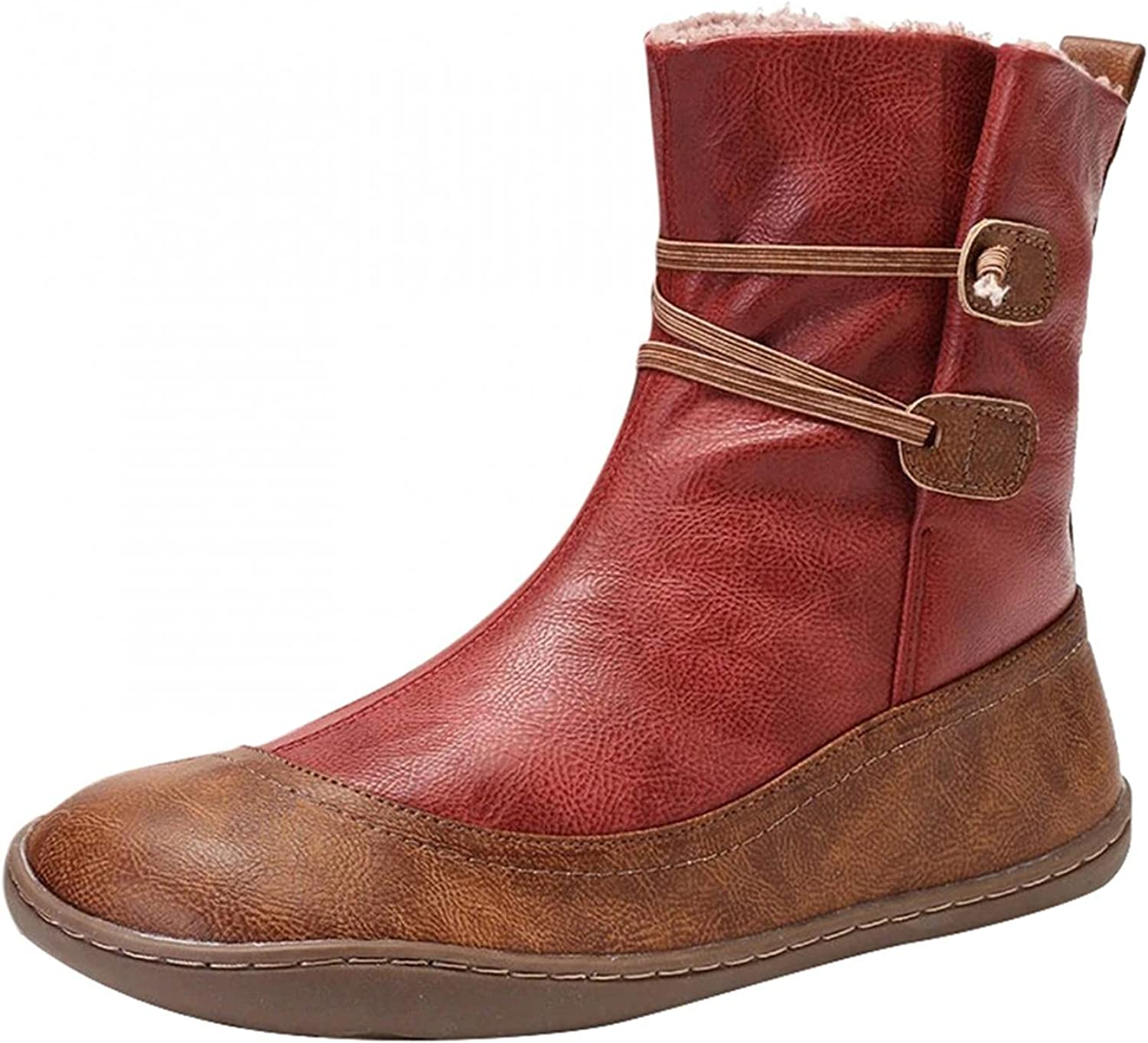 Zieglen Women's Winter Boots, Women's Boots with Leather Non Slip Flat Short Boots Western Boots Snow Boots Motorcycle Boots