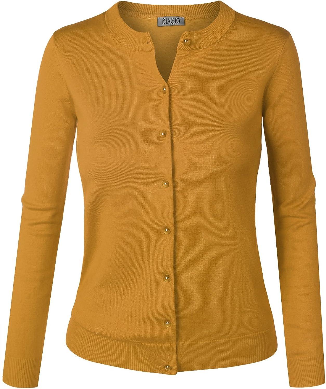 BIADANI Women Button Arlington Mall Down Long Sweat Sleeve V-Neck Cardigan Soft Today's only