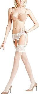 FALKE Damen Stockings Seidenglatt 15 Denier - , 1 Paar, versch. Farben, Größe 8.5-11 - Edler, transparenter Feinstrumpf in leicht glänzendem Look, romantisch, femininen Zierspitze