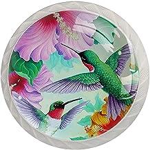 Lade Knoppen Ronde Kristal Glazen Kast Handgrepen Pull 4 Pcs,Lente Humming Vogels Hibiscus Bloemen Zomer Welkom