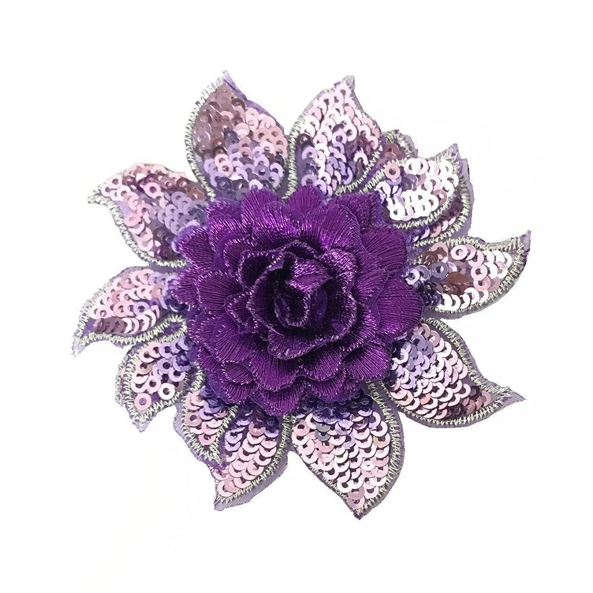 1pcs Violet Sequin Embroiery Flower Patche 3.2inch
