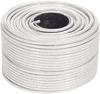 PSI 1//8 Vinyl Coated Wire Rope with Looped Ends 1//16 Core Diameter Flexible Thin Standard Outdoor Cable for String Lights DIY 18ft, Clear Clothesline 7x7 Braids Galvanized Steel