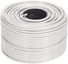 Houseables Vinyl Coated Wire Rope, Aircraft Cable, Stainless Steel, 250 Feet, 1/8-Inch - 3/16-Inch, 7x19 Braided Strands, Plastic Reel, Galvanized Metal, Tension Wires, for Clothes Line, Zip Lines
